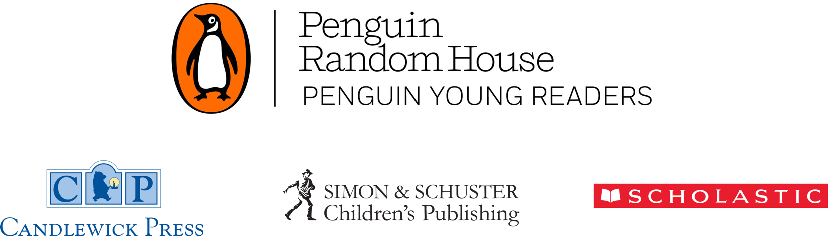 Penguin Random House - Penguin Young Readers, Candlewick Press, Simon & Schuster Children's Publishing, and Scholastic